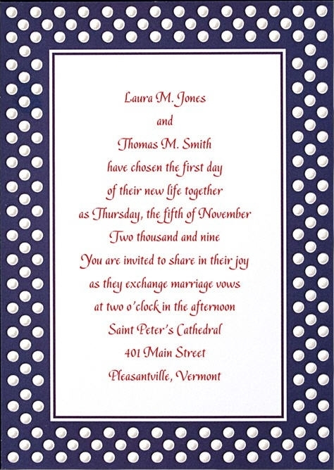 Navy blue and white polka dot wedding invitation with dark fuchsia writing