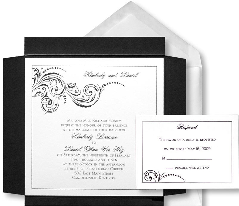 Chic and sophisticated black, white, silver square wedding invitation