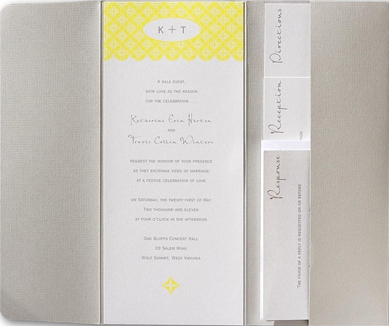 Soft grey, white, soft yellow wedding invitation makes a subtle, yet beautiful, statement