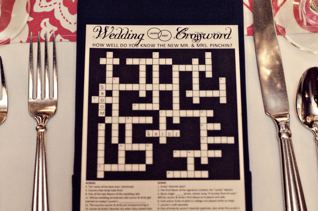 Wedding games custom crossword