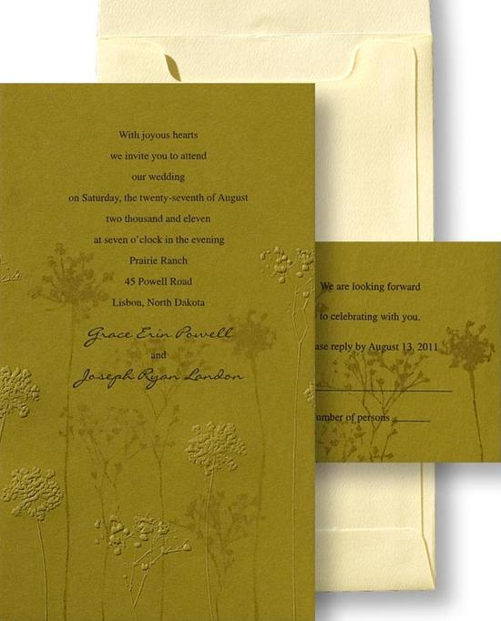 An eco-friendly citron green wedding invitation printed on recycled card stock