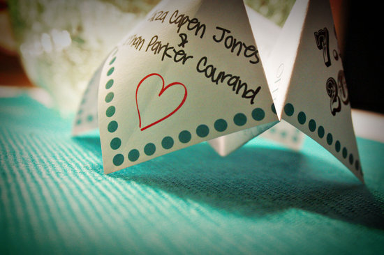 Handmade cootie catchers wedding games