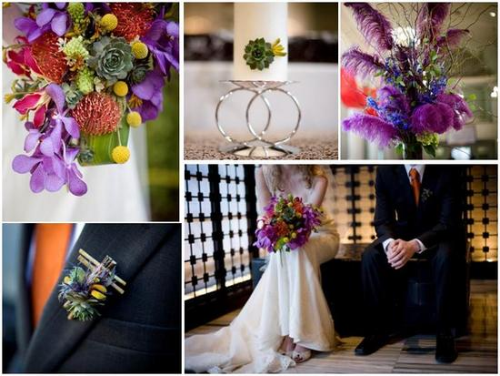 Vibrant, colorful floral bouquet (purple, green, lavender, red, yellow) for your modern wedding
