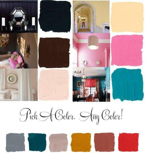 Let sexy paint colors like bubblegum pink, teal, peach, and chocolate brown serve as inspiration for