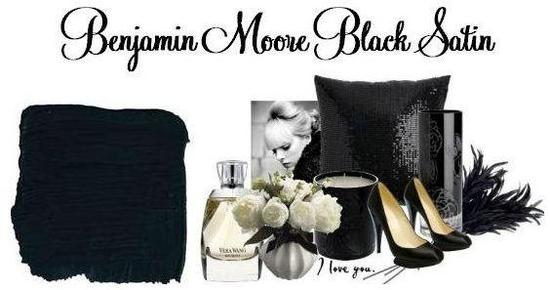 Sexy paint colors inspire this Black Satin inspiration board for your wedding