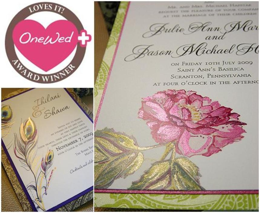 beautiful pink, fuchsia, green, gold hand painted wedding invitations, Wedding invitations