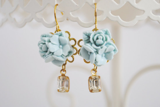 Pale something blue bridal earrings