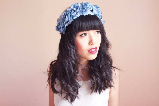 Blue flower head crown bohemian brides