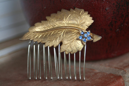 Gold and blue wedding hair comb