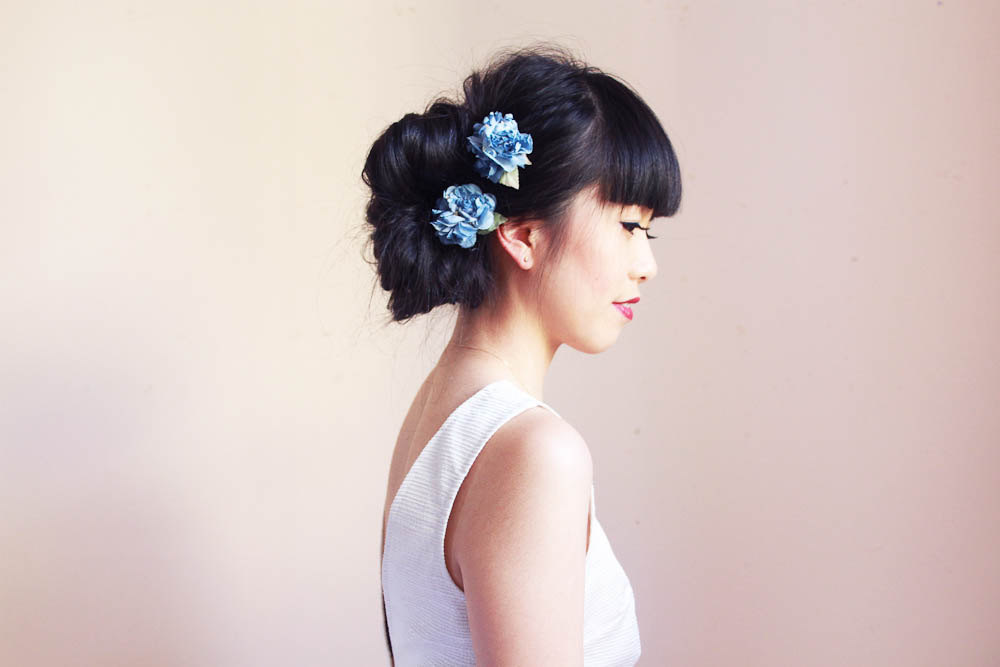 something blue wedding hair flowers