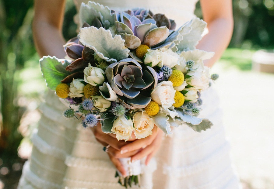 Wedding bouquet with succulents and billy balls