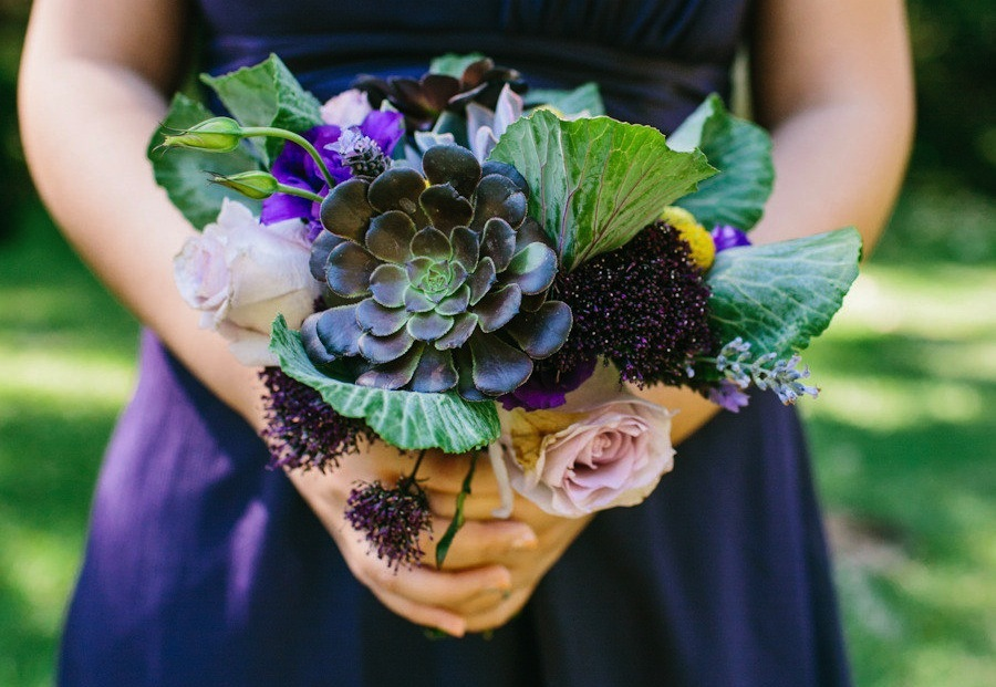 Unique succulent bridesmaid bouquet