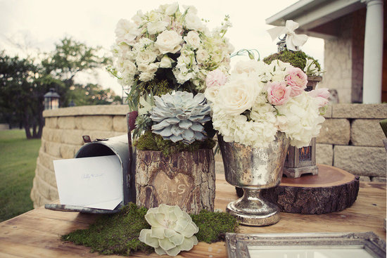 Rustic romance wedding welcome table pastel flowers