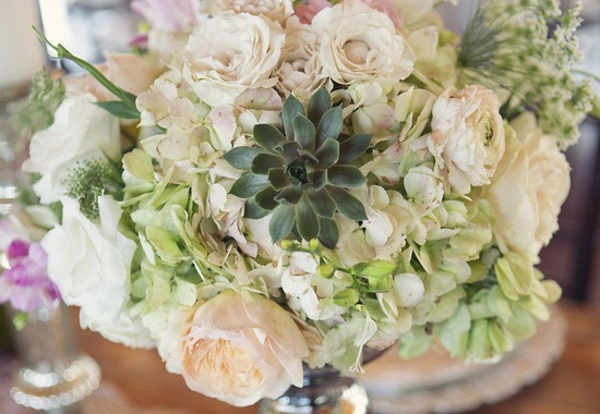 Ivory light pink green wedding centerpiece