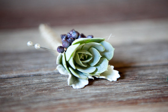 Simple succulent grooms boutonniere