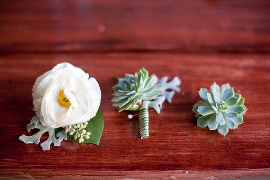 Simple elegant boutonnieres succulents