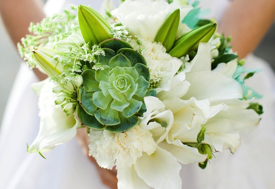 Bright green ivory succulent bouquet