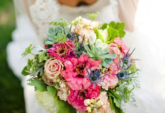 Bright spring wedding bouquet pink green