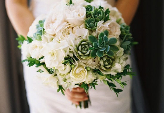 Succulent and ivory rose wedding bouquet