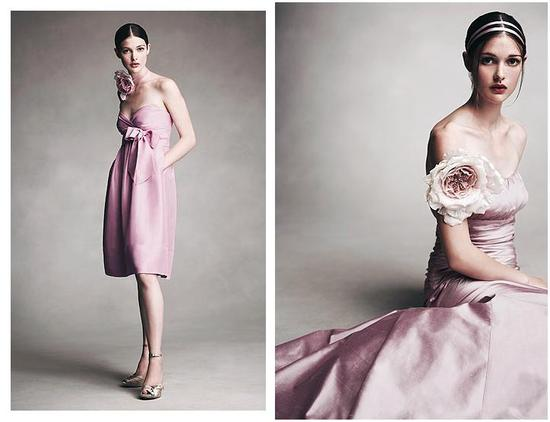 Short dress in sweetpea pink with bow; long dress in mauve silk shantung