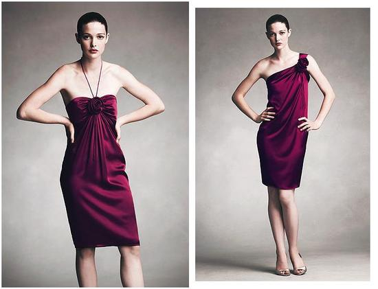 Dark magenta, charmeuse short dresses; one shoulder with rose detail