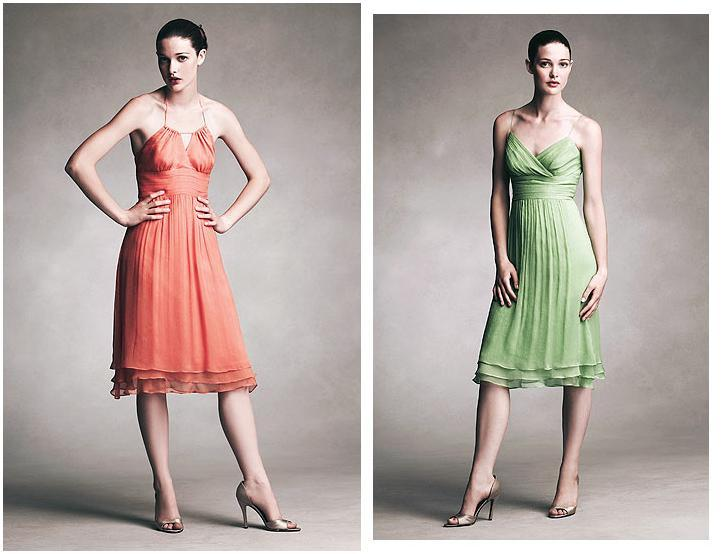 Short, chiffon dresses in tangerine and clover green