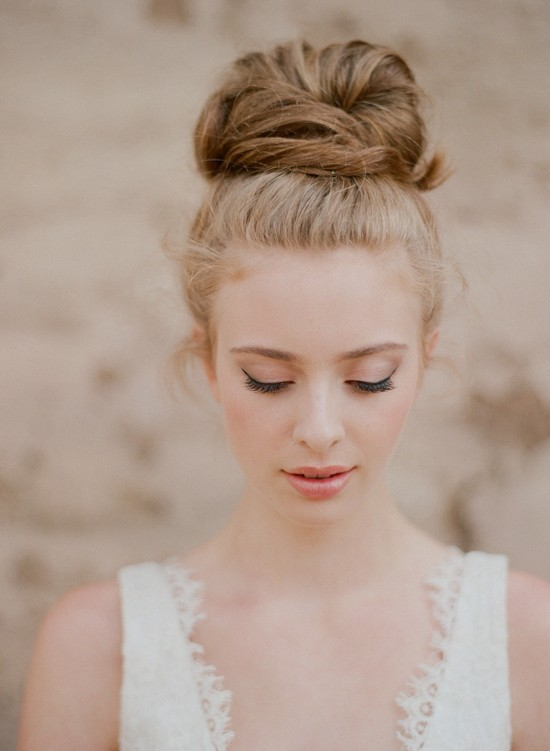 Top Knot Romantic Wedding Hairstyle