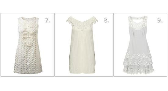 Short, white dresses for your wedding- perfect for elegant cocktail hour