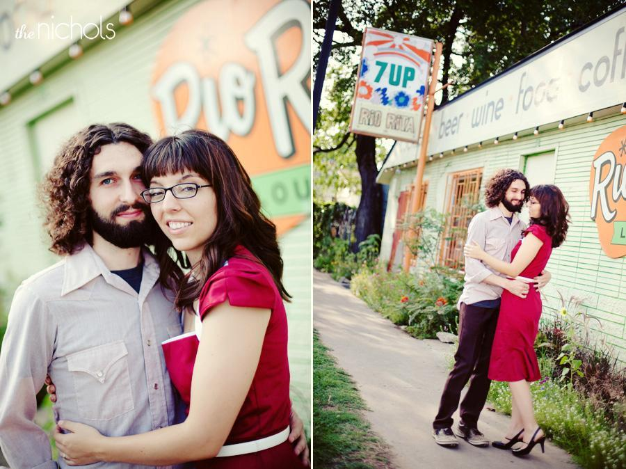 Engagement-photo-session-red-dress-bride-groom-outside-of-lounge-7-up-orange-green.full