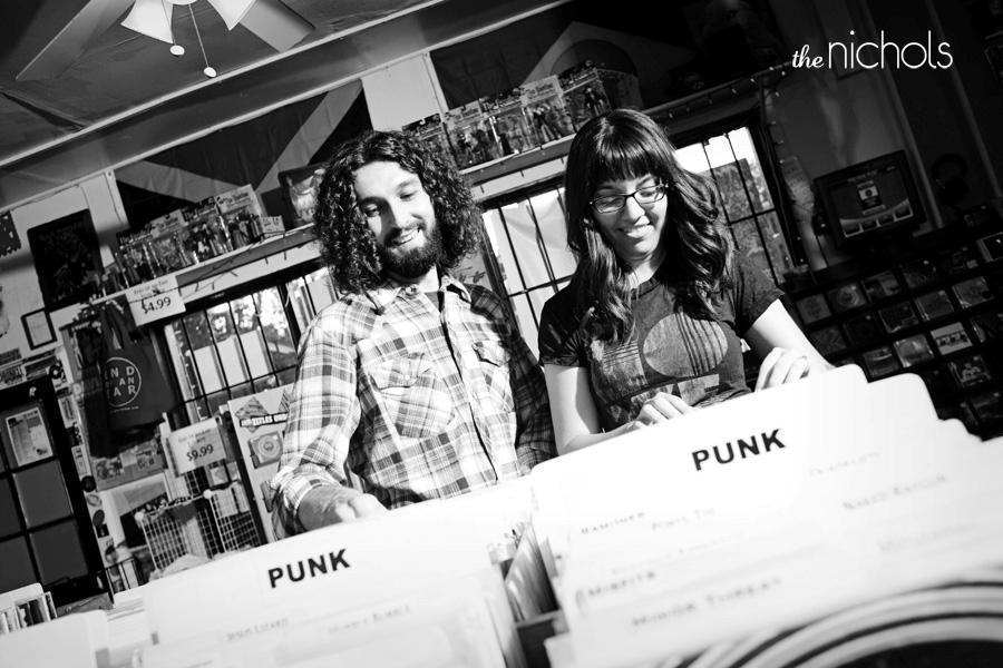 Engagement-photo-shoot-edgy-bride-groom-black-white-punk-record-store.full