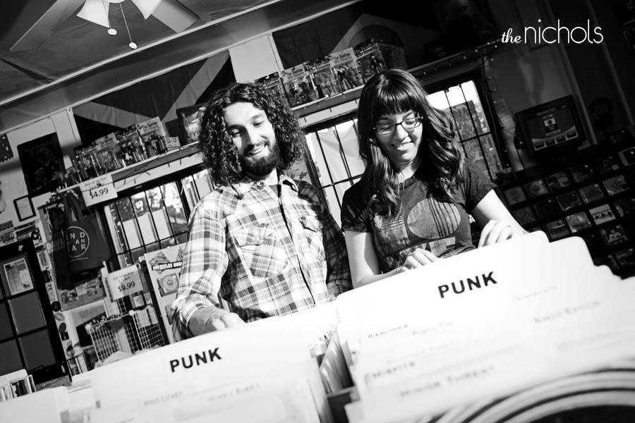 Engagement-photo-shoot-edgy-bride-groom-black-white-punk-record-store.original