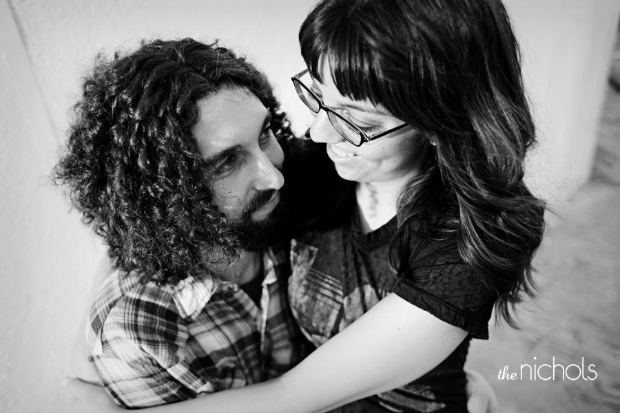 Engagement-photo-session-black-and-white-happy-bride-and-groom.full