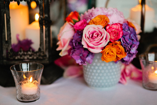 Spring wedding centerpiece pink orange purple