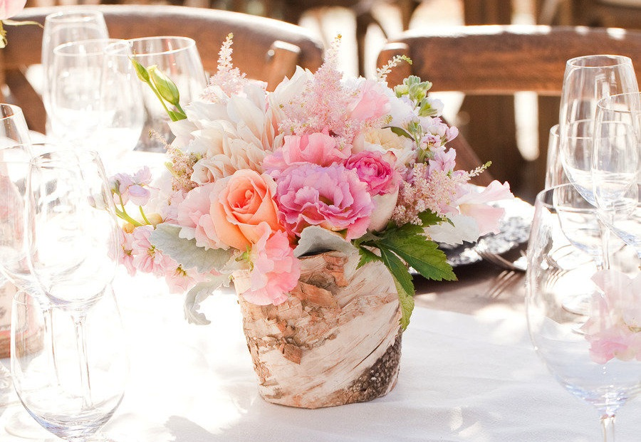 Romantic wedding centerpiece in rustic wood vase for Wood vases for centerpieces