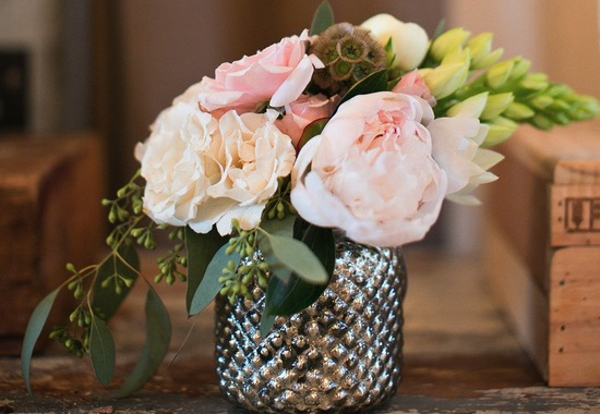 Spring perfect wedding centerpiece in silver vase