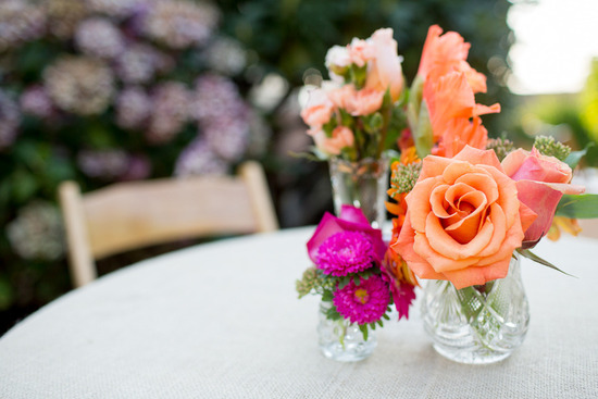 coral peach fuschia wedding flower centerpieces