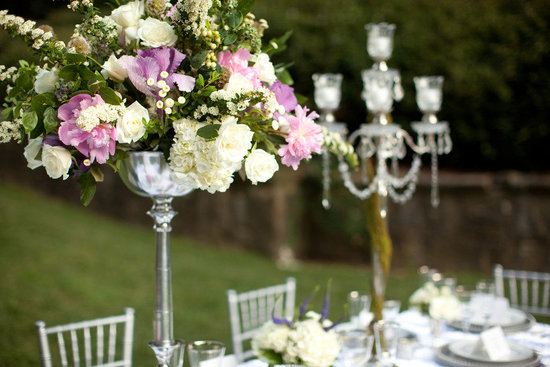 Elegant topiary wedding centerpiece