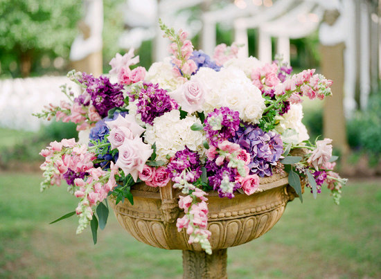 Romantic garden wedding centerpiece ivory purple