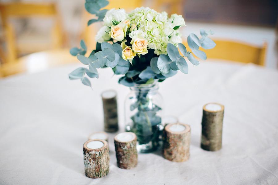 Elegant Rustic Spring Wedding Centerpiece Green Peach Ivory