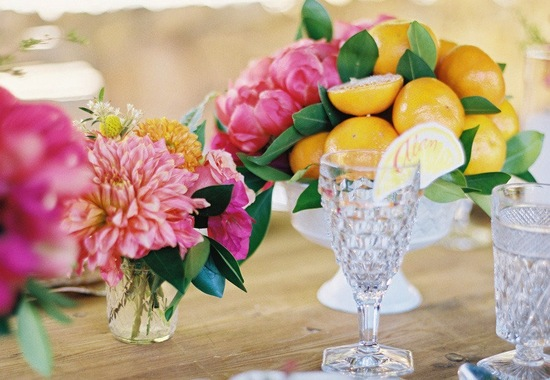 Citrus and Peony wedding centerpiece