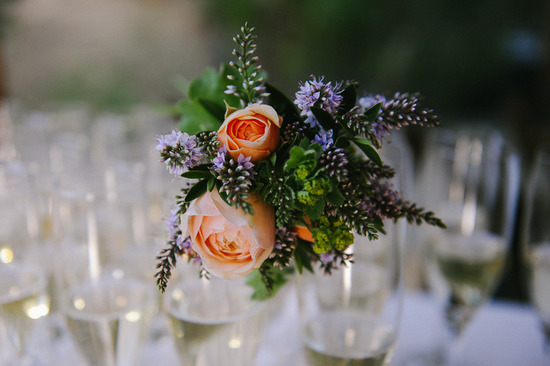 deep peach green purple wedding centerpiece