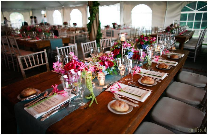 Stunning Tablescape Long Picnic Style For Outdoor Wedding