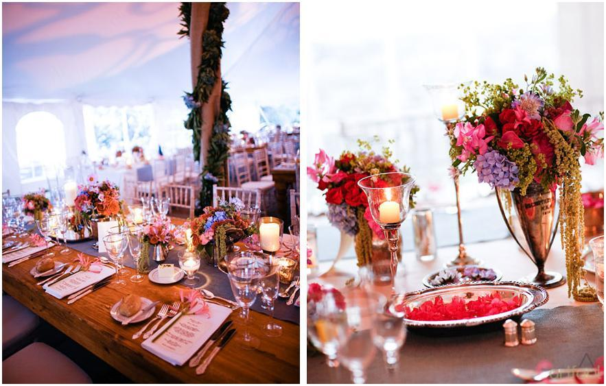Artfool-events-for-inspiration-floral-centerpieces-tablescape-green-pink-fuchsia-light-blue-tent-bride-grooms-table.full