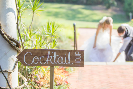 Wood Cocktail Hour wedding sign
