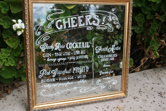 Mirrored wedding bar sign