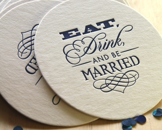 letterpress wedding coasters ivory navy