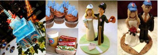 Colorful wedding cake and cute sports-themed cake toppers for your Chicago wedding