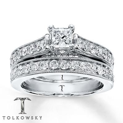 bc574b82d4536 kay jewelers diamond bridal set 1 1 3 ct tw princess cut 14k white ...