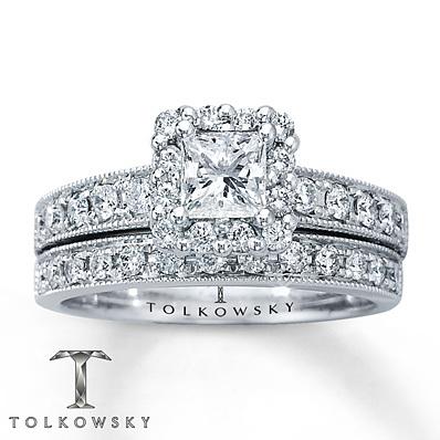 kay jewelers diamond bridal set 1 1 6 ct tw princess cut 14k white gold bridal - Kay Jewelers Wedding Rings Sets
