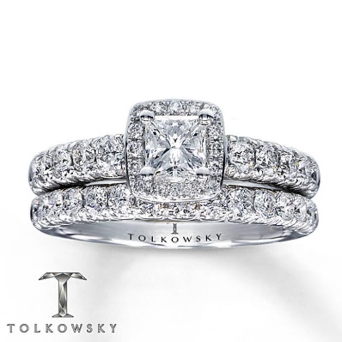 kay jewelers diamond bridal set 1 ct tw princess cut 14k white gold engagement rings - Kay Jewelers Wedding Rings Sets